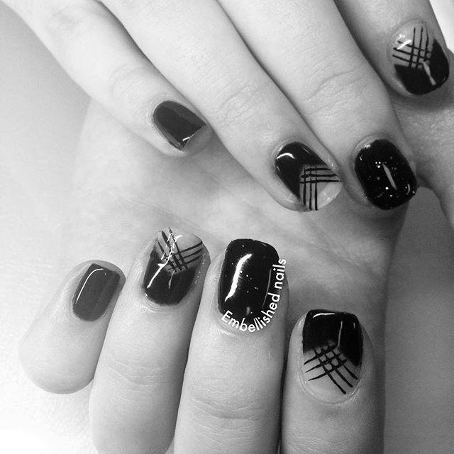 Rocking black gel polish #embellishednails #embellished #nailsbykatey #nailart…