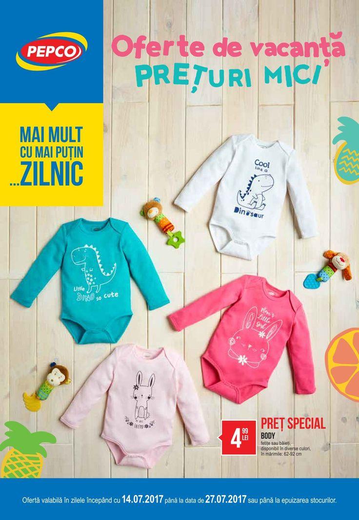 Catalog Pepco Oferte de Vacanta 14 - 27 Iulie 2017! Oferte si recomandari: body bebe 4,99 lei; pantaloni de trening fetite 9,99 lei; sticla cu pai