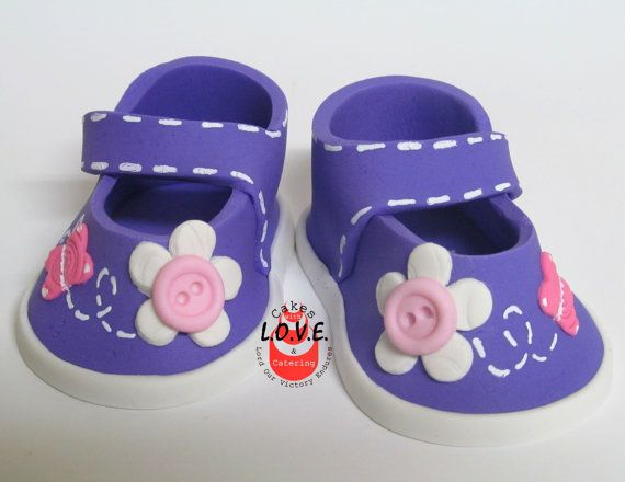 Baby Shoes Topper, Purple shoes cake topper