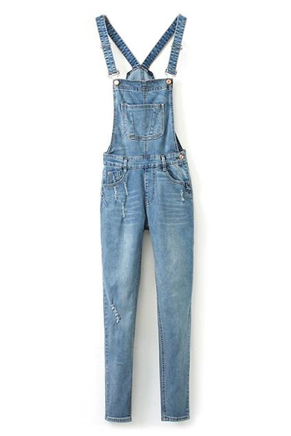 ROMWE Straps Pocketed Loose Blue denim Jumpsuit 25.67