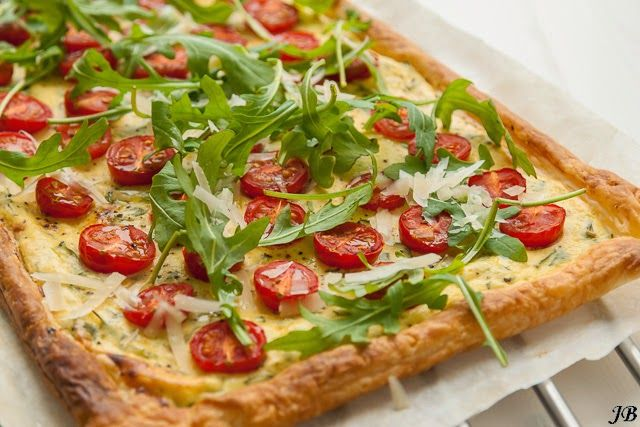 Carolines blog: Plaattaart met kruidenricotta en tomaatjes