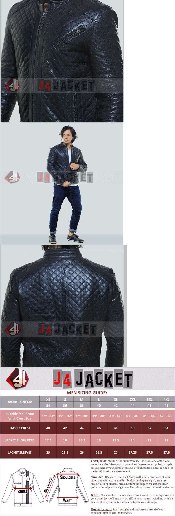 Men Coats And Jackets: New Men S Quilted Motorcycle Black Genuine Lambskin Leather Biker Jacket -> BUY IT NOW ONLY: $109.99 on eBay!
