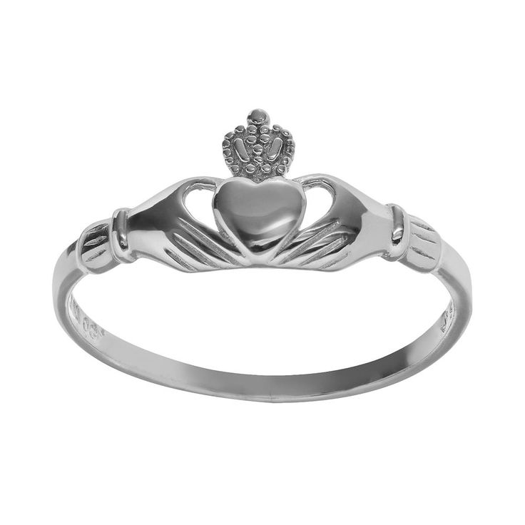 Sterling Silver Claddagh Ring, Women's, Size: 10, Grey