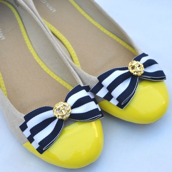 "Nautical ""Flat"" Bow Shoe Clips...Womens Navy and White Striped Bow Shoe Clips...Anchor Button Shoe Clips...Bow with Gold Shoe Clips. via Etsy shop JLAccessories"