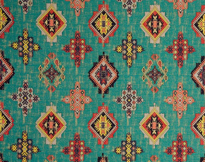 Blue Orange Moroccan Upholstery Fabric Heavyweight Medallion