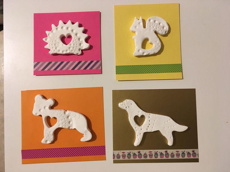 Äitienpäivä, kortti, soodataikina, siili, orava, koira, karhu, mothersday, card, diy