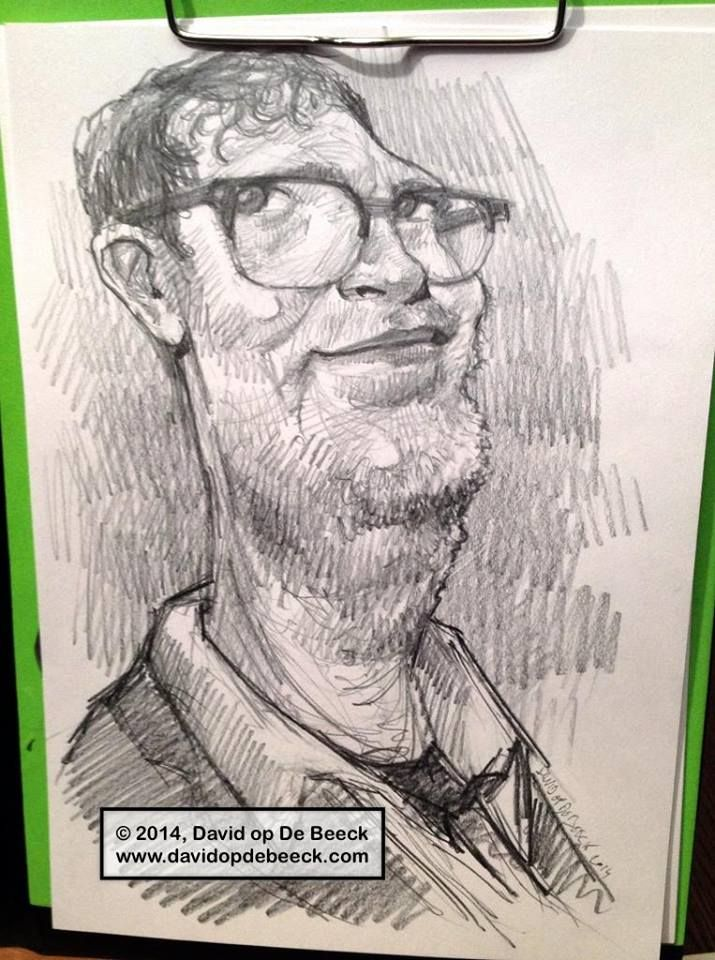 rough sketch of Rainn Wilson, by David op De Beeck, january 2014
