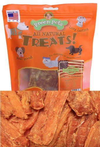 Limited Time Offer! Preen Pets Chicken Jerky USA 2lb. Perfect size for Small to Large Dogs. Every piece is carefully processed to achieve the crunchy texture while guaranteeing it is digestible even for tiny puppies. Chicken Jerky is made of 98% fat-free thin cuts 100% chicken breast. Finest Meat. Pure U.S Farm raised Chicken breast (NOT ground OR processed) meat. You will receive this size in a clear zip lock bag. Along with the flavor, chicken's nutritional content is also sealed...