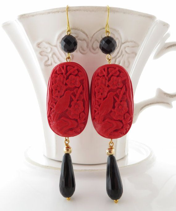 Cinnabar earrings, black agate earrings, dangle earrings, uk gemstone jewelry, red carved earrings, oriental jewellery, italian jewels