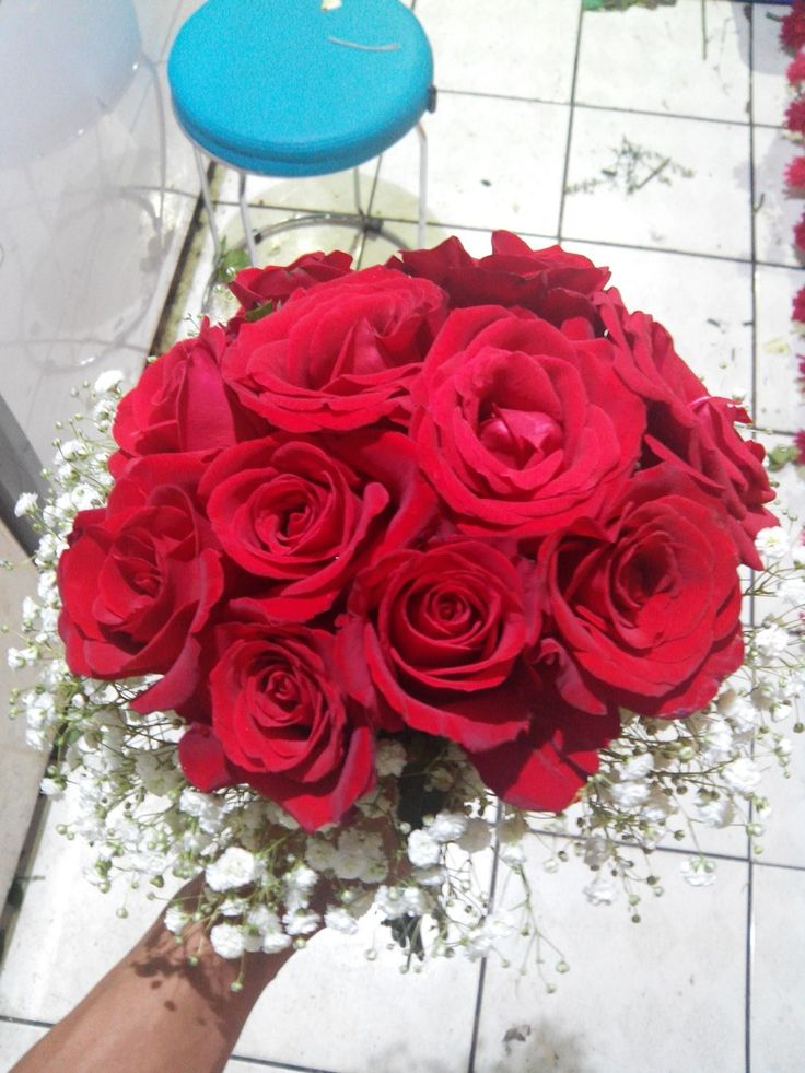 Red rose and babybreath for prewedd session