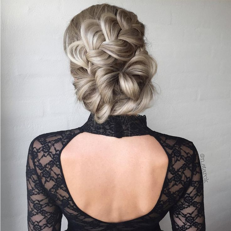 Big braid into low updo