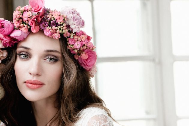 floral crown + flawless make up