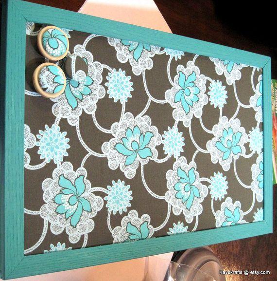 Clematis Forest Blue Framed Cork Board Tack Board by kayskrafts, $43.99