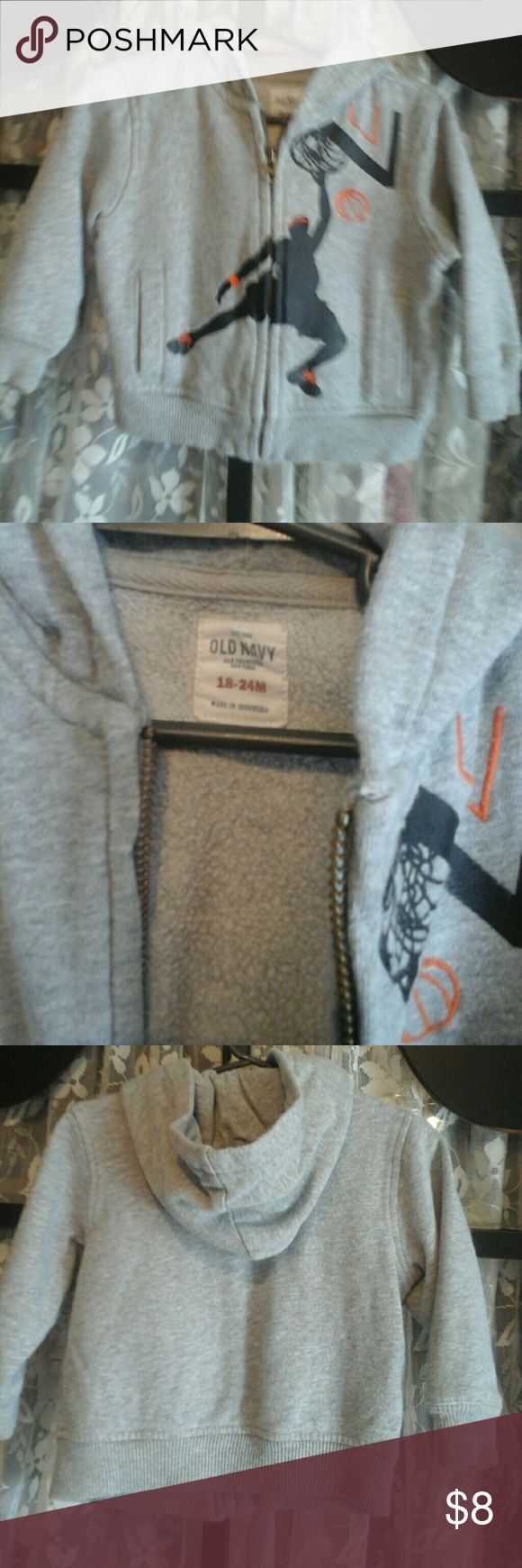 Old Navy Zip Up Hoodie Gray Zip Up Hoodie  w/ Basketball player on front *Like New* Old Navy Other