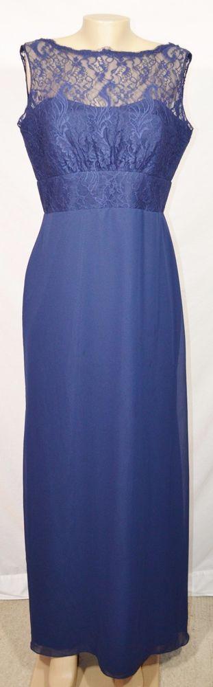 JIM HJELM OCCASIONS Navy Blue Chiffon Chantilly Lace Dress 14 Bateau Neckline #JimHjelm #BallGown #Formal