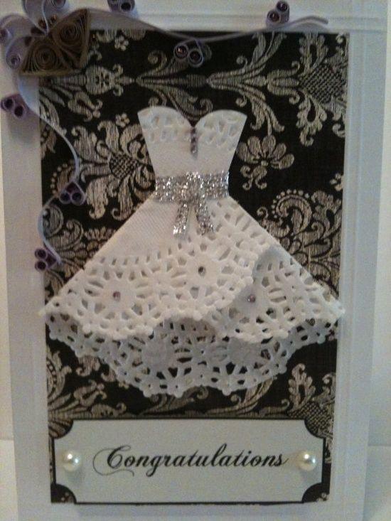 Doily Dress Wedding Card - very pretty