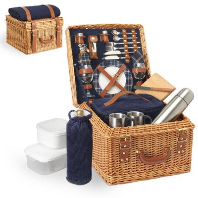 Features:  -2 Stainless steel mugs.  -Bottle stopper.  -Insulated corduroy cooler bag.  -Fully insulatedcorduroy wine duffle.  -Fleece blanket.  -2 Plastic food containers.  Product Type: -Picnic Bask