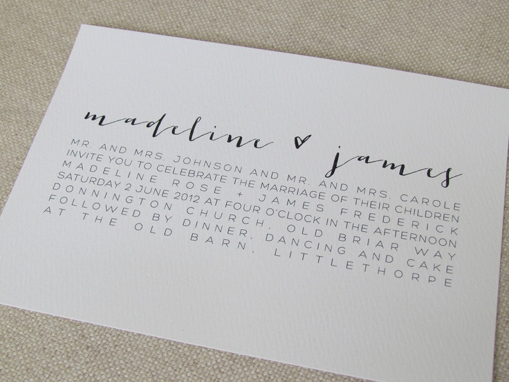 Modern calligraphy wedding invitations � via etsy