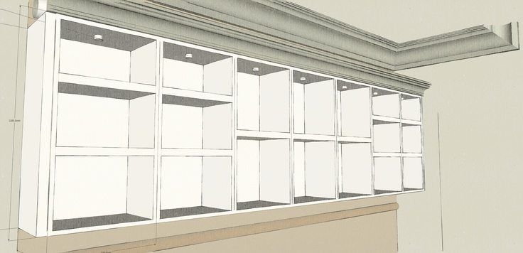 Concept sketch. Approx 5meters long. 1.2 high with bespoke cornice