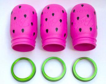 DIY: watermelon mason jars (for utensils)