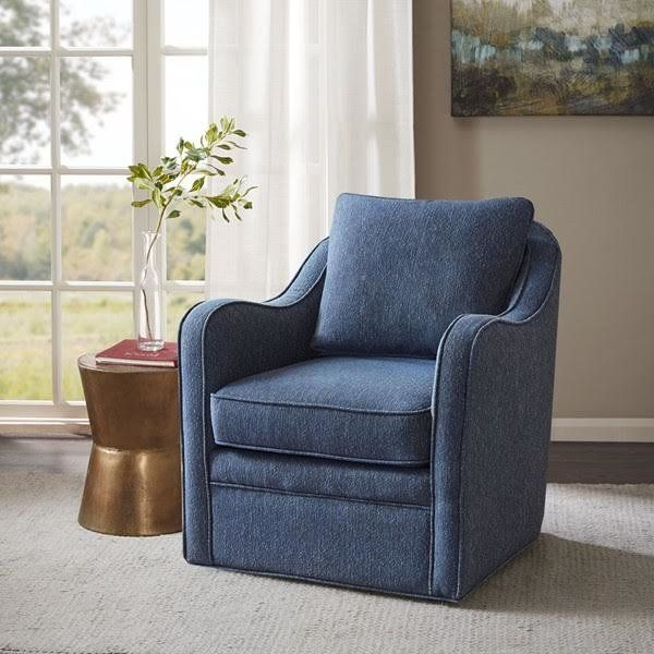Three Posts Loftus Swivel Armchair Reviews Wayfair Swivel Chair Living Room Swivel Armchair Blue Accent Chairs
