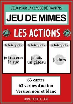 Tlchargez et imprimez des cartes pour jouer au jeu des mimes !Le jeu se joue par quipe. La premire quipe commence la partie. Un joueur mime ou dessine. Les autres joueurs doivent deviner les mots. Le premier joueur tire une carte et doit faire deviner le mot en mimant ou en dessinant.