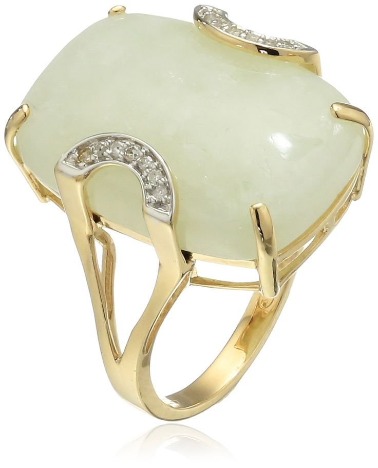 14k Yellow Gold Green Jade and Diamond Accent Ring, Size 7:
