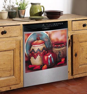 Southwest Style Dishwasher Cover featuring Southwest Pottery - Southwest Kitchen