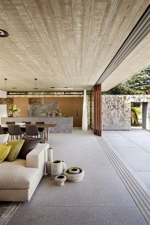 Living/dinning vibes Indoor/outdoor rooms = concrete + stone + timber |> living  Grand Designs Australia Hunters Hill Textural House