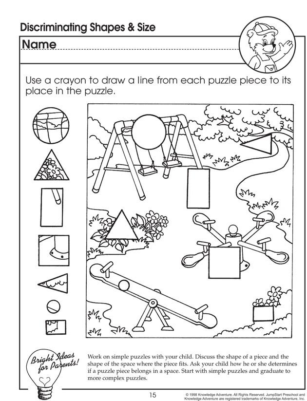 Discriminating Shapes and Size – Visual Discrimination Worksheet for Preschoolers - JumpStart