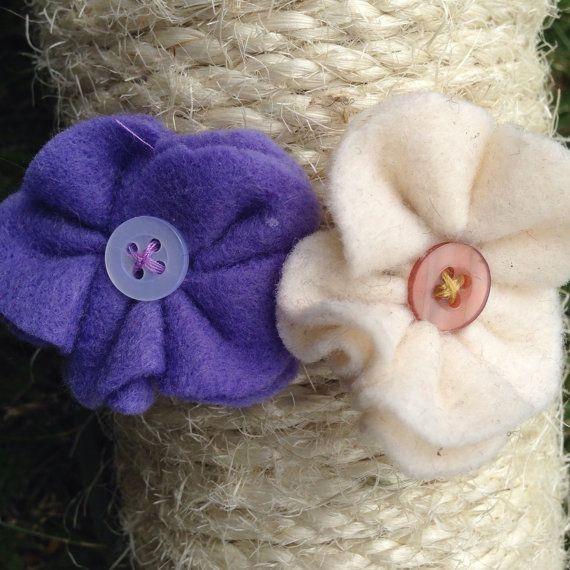Purple+and+cream+felt+panseys+with+button+by+GeminiiRushDesigns