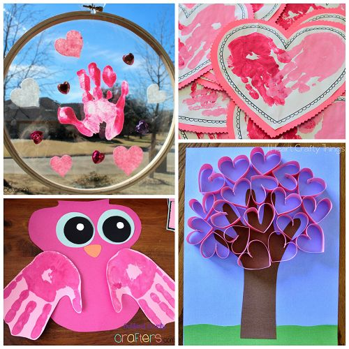 Here are a bunch of creative valentine's day handprint crafts and card ideas for kids to make! You will find owls, hearts, trees, monkeys and more art projects!