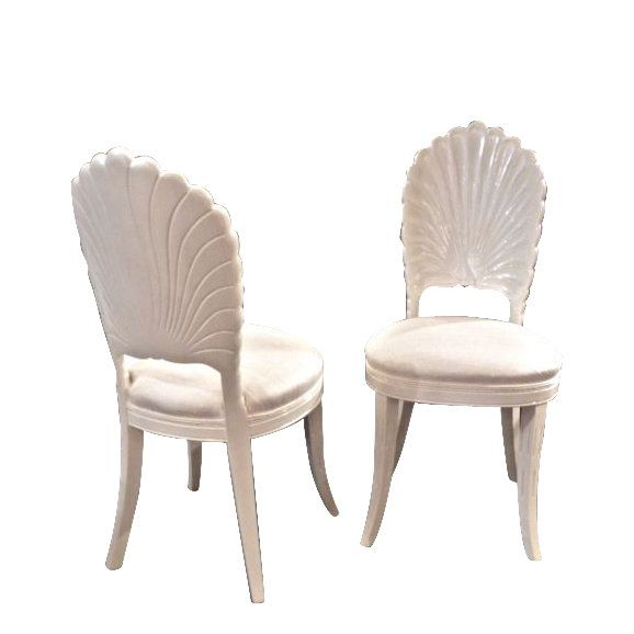 "pair of ""GROTTO"" chairs in custom white opalescent lacquer @ www.material-environment.com   $1950 for the pair"