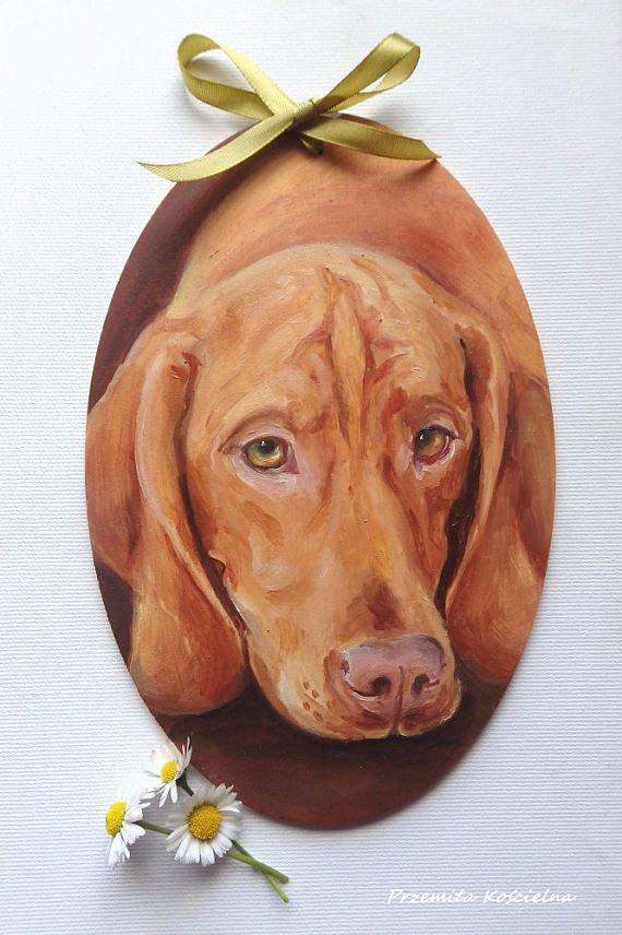 Hungarian Vizsla  Oval Door Decoration Dog Portrait Hand #dog #Vizsla #homedecor #door #petportraits #dogmemorial #giftidea #handmade #painting #art #dogportrait #canisartstudio