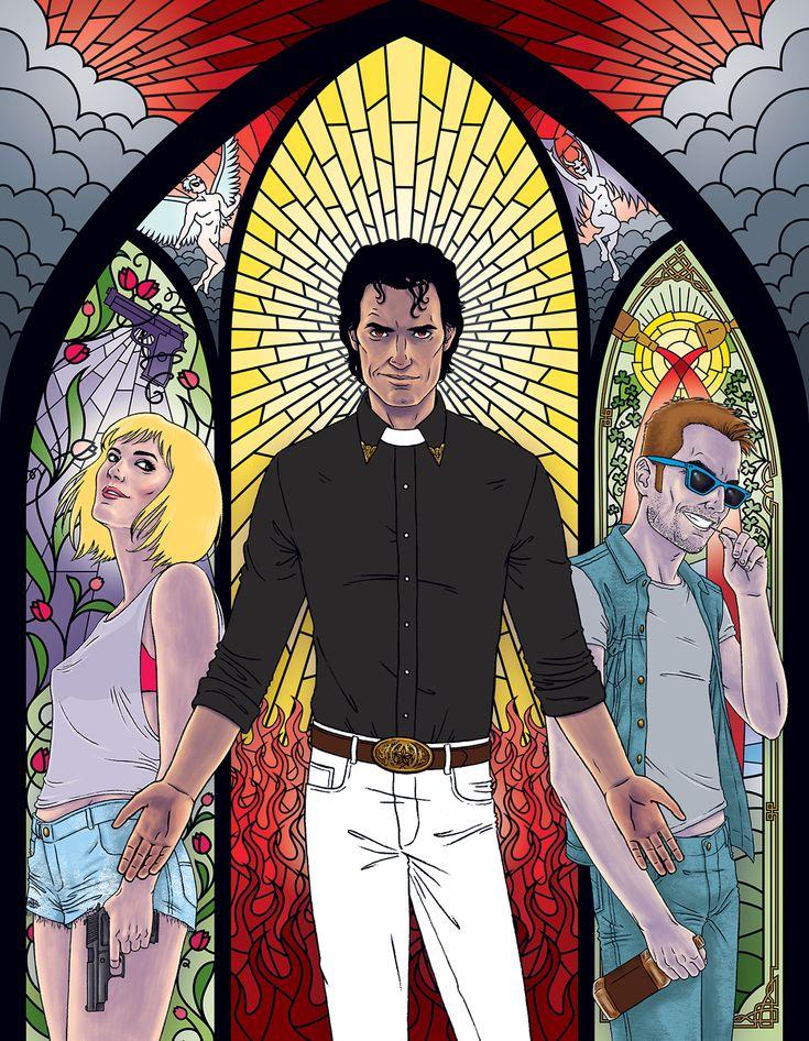 Editorial Illustration featuring the Preacher comic book