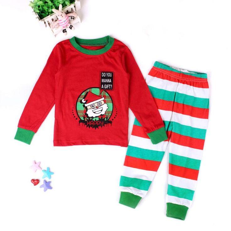 Рождественские костюмы для детей-дети С Длинными Рукавами Девушки Парни Детские Дети Одежда Наборы 2 Шт. Пижамы рождество пижамы