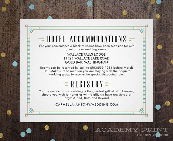Art Deco Wedding Information Insert, Hotel Accommodations Insert Printable, Great Gatsby Wedding Info, Roaring 20s, Vintage Invitation Suite