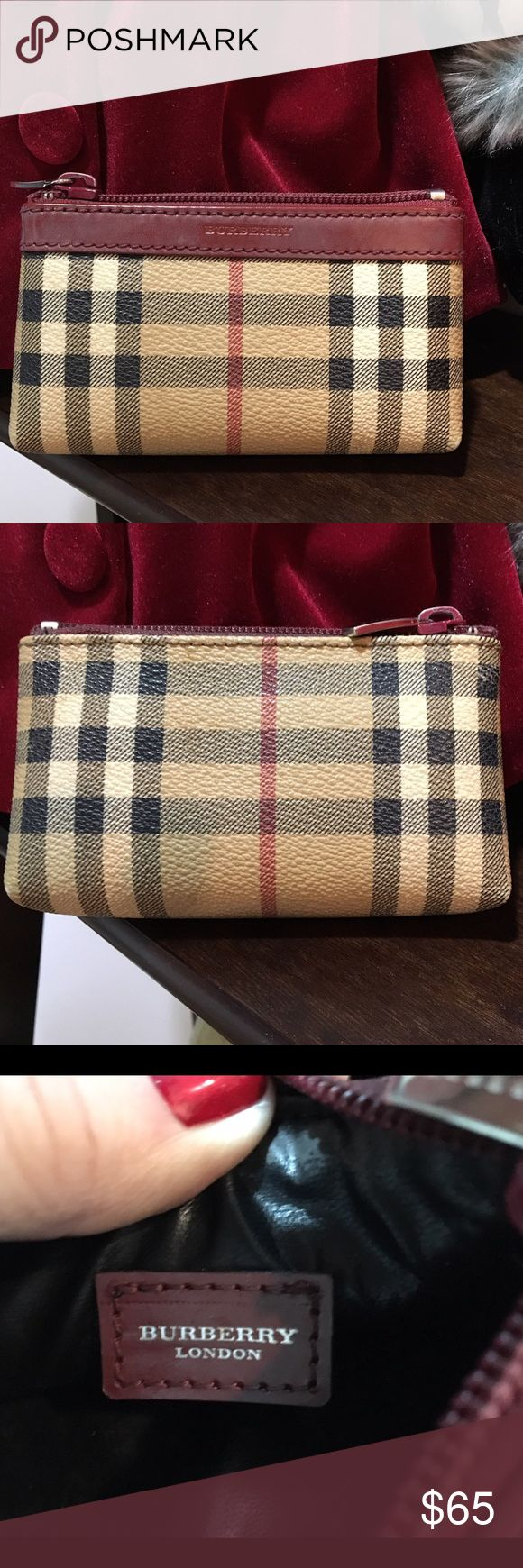 "Authentic Burberry Canvas/lLeather Trim Coin Purse Classic Burberry Plaid: cream, beige, wine and black. Zipper closure. Black lining. Measures 5.25"" L x 3.75""H x 1"" D. Made in Italy. Slight wear on the bottom corners. Great little purse for nights out. Burberry Bags Clutches & Wristlets"