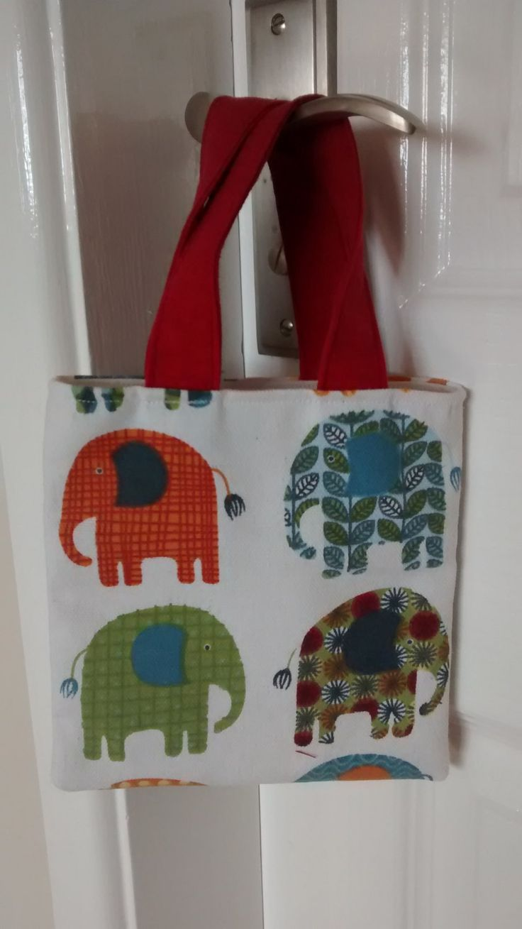Child's Tote Bag, Child's Bag, Small Bag, Boys Bag, Cute Cotten Fabric Bag, Elephant Print Fabric Tote Bag by BitsBobsBunting on Etsy