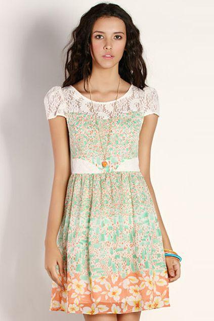 ROMWE | Floral Hem Green Dress, The Latest Street Fashion #ROMWEROCOCO