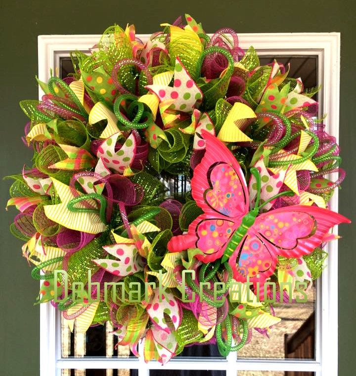 Butterfly wreath, Green and pink mesh wreath, Front door wreath, Spring wreath, Summer wreath by Debmarkcreations on Etsy