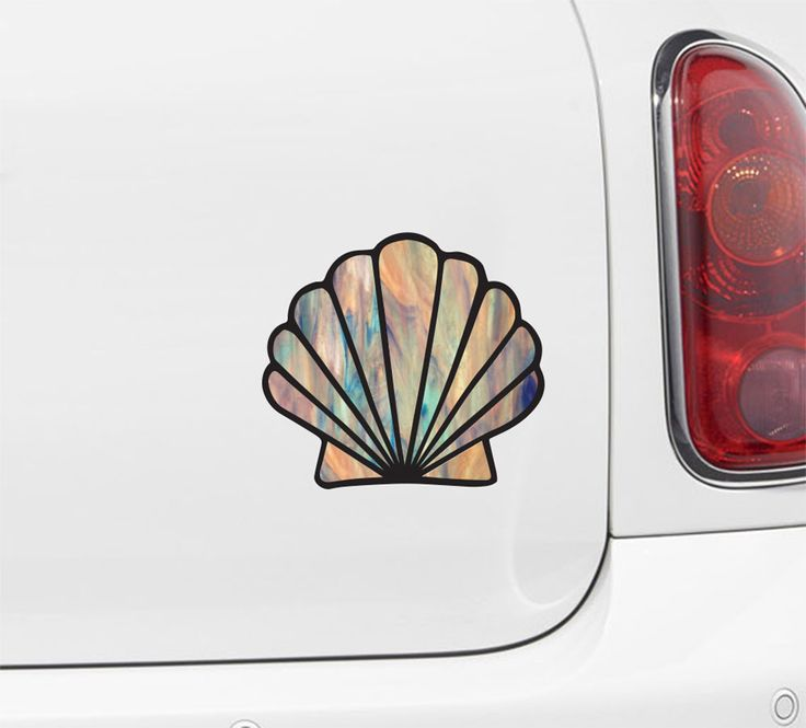 CLR:CAR - Iridescent Scallop Seashell - Stained Glass Style - Vinyl Decal for Vehicles - ©2016 YYDC