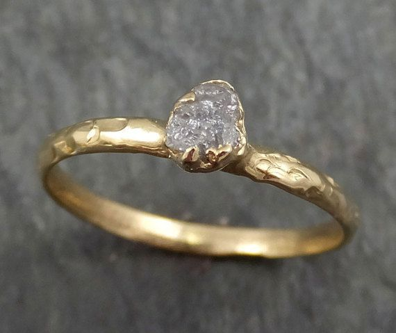 Raw Diamond Engagement Ring Rough Diamond Solitaire Recycled 14k gold Conflict Free Diamond Wedding Promise byAngeline Raw Organic Conflict Free Diamonds As Individual as You are! A rustic one of a kind stone and setting as unique as you are. No two are ever the same.I create the setting in wax then cast it myself in my home studio. I carefully hand cut each prong to match the unique shape of the stone. No two rings are ever exactly the same. This ring is available here, it was cast in…