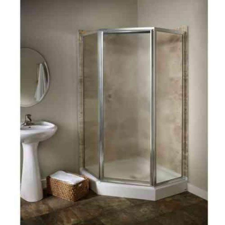 American Standard Prestige 24.12 in. x 68.5 in. Framed Neo-Angle Shower Door in Silver and Hammered Glass