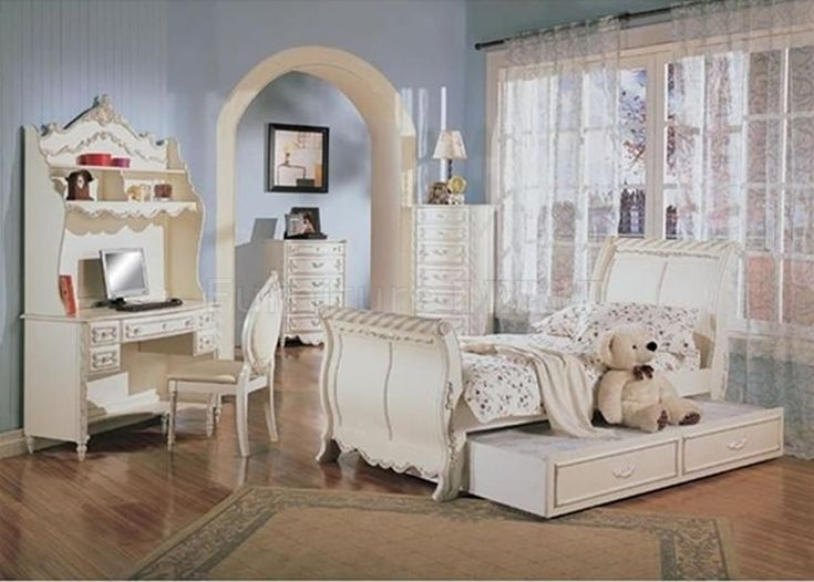 classic pearl white girlu0027s bedroom set wcarved details