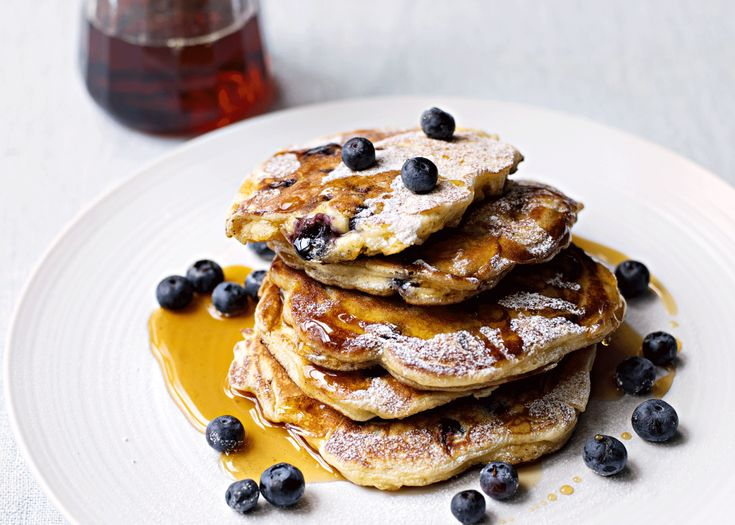 blueberry pancakes | serve these in stacks, dusted with icing sugar, a handful of extra blueberries, and a good glug of good-quality maple syrup #blueberries #pancakes #recipe #foodwise