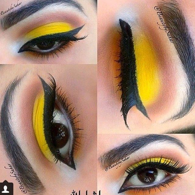 yellow black bumblebee eye makeup
