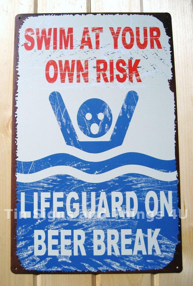 Details About Lifeguard On Beer Break Tin Sign Funny Vtg