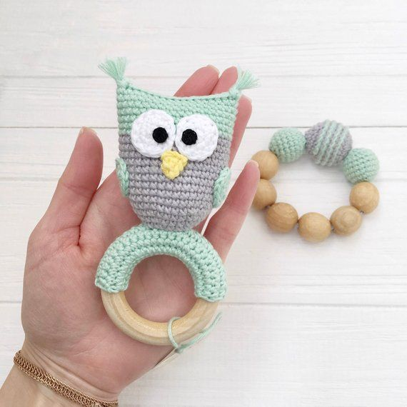 Teething Ring Teething Toy Baby Gift Wooden Teething Ring Organic Teether Baby Teether Baby Lovie Blanket Baby Owl Teether Toy Wooden Toys
