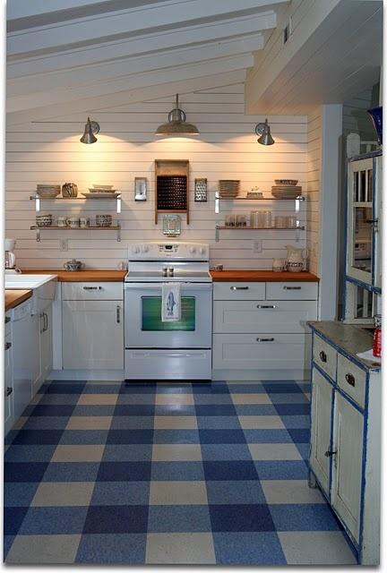 Plaid linoleum floor playroom pinterest stove cabin for Blue linoleum floor tiles